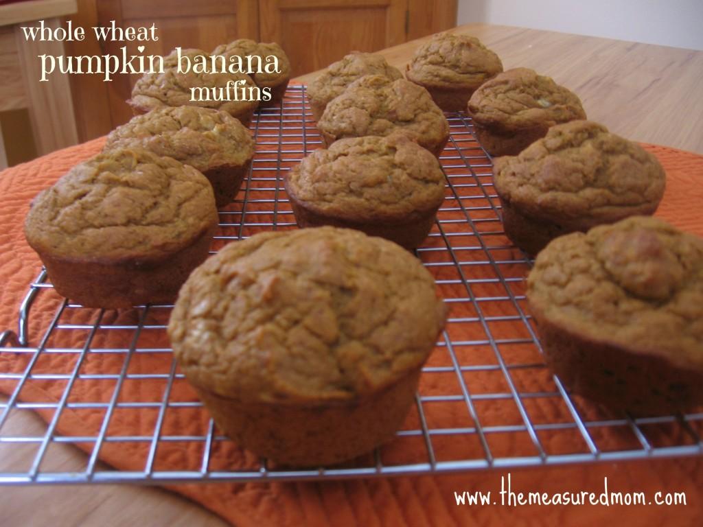 We love this whole grain, sugar-free recipe for pumpkin banana muffins!