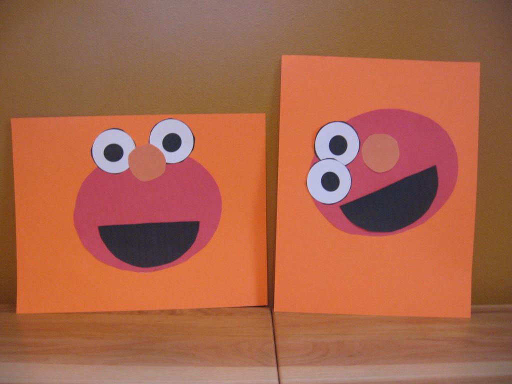 letter E cut and paste Elmo
