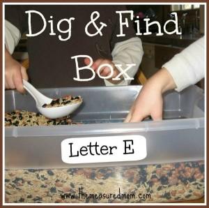 A Simple Sensory Bin for Letter E