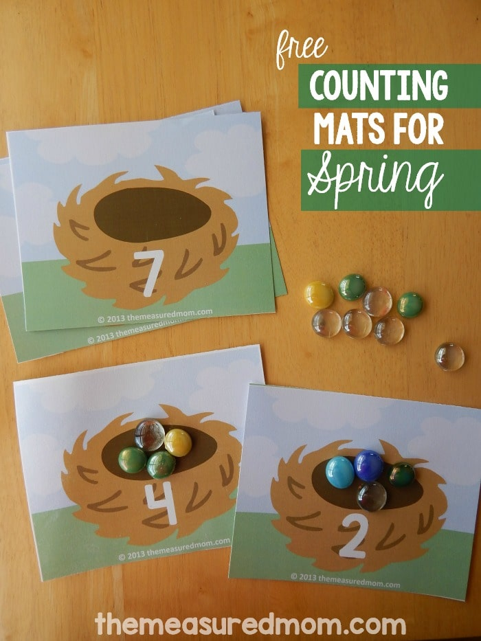Free printable counting mats Count the Eggs The