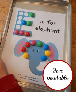 Free Letter E printable – E is for Elephant!