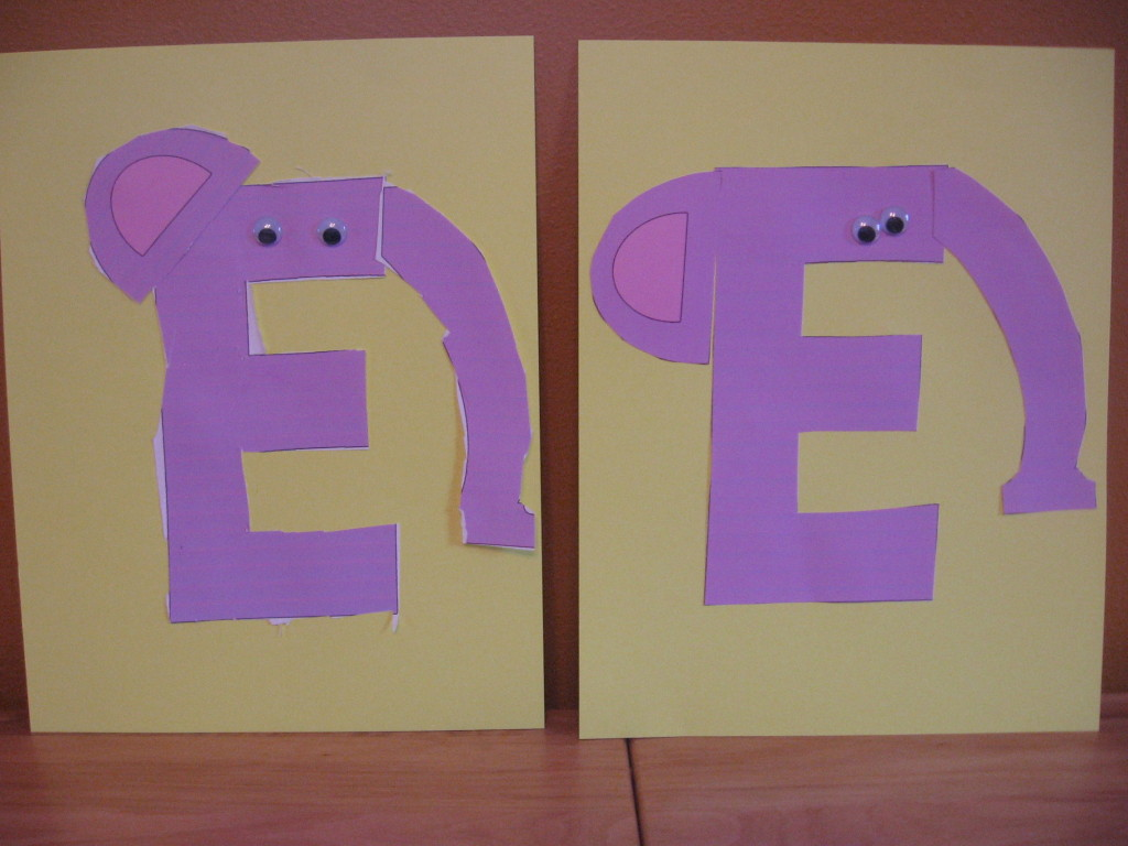 letter E cut and paste elephant