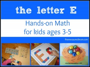 Math Activities for Preschoolers – the letter E