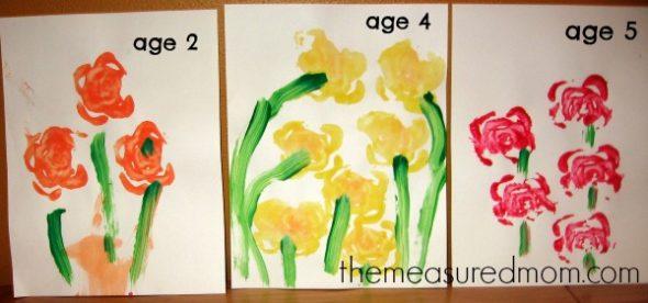letter F celery print flowers