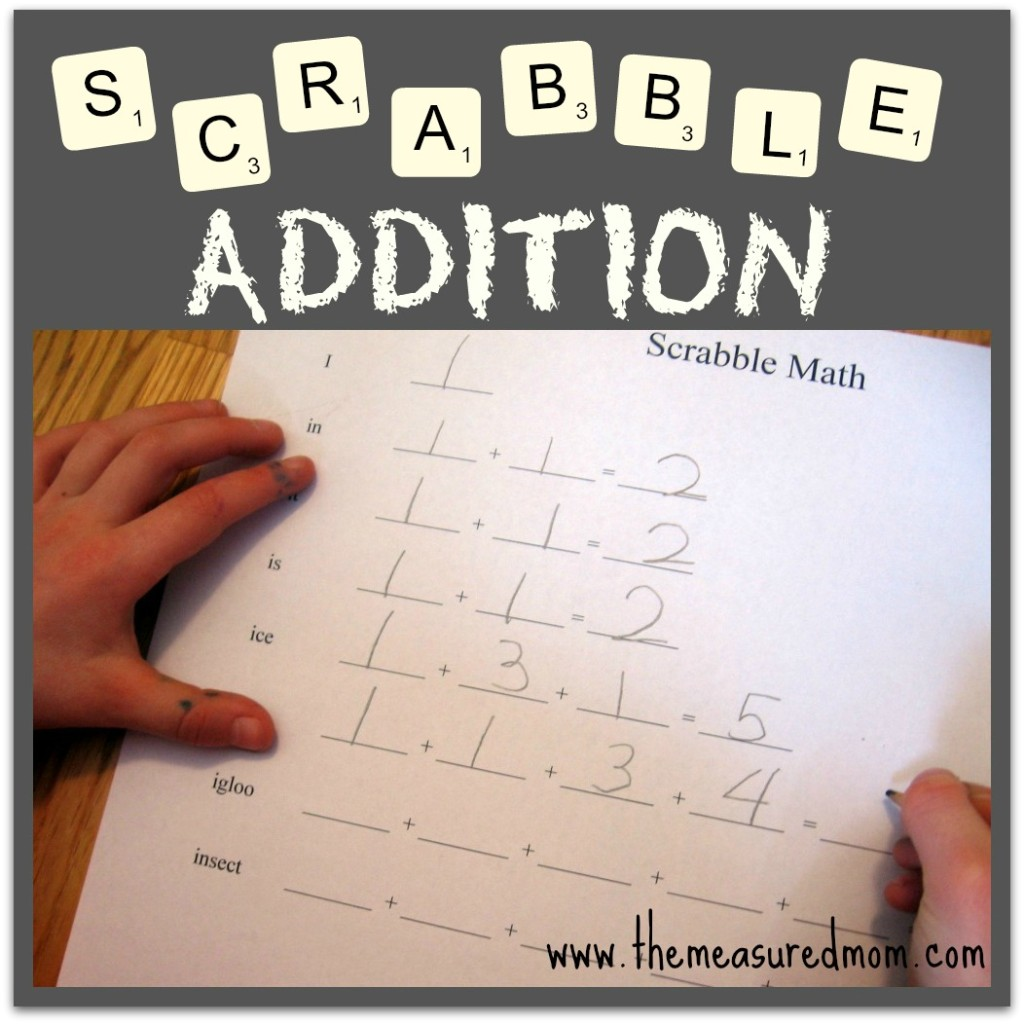 Check out this easy addition game using Scrabble tiles! Use it with your child's spelling words for some extra learning.