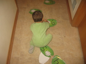 child crawling on lily pad cards