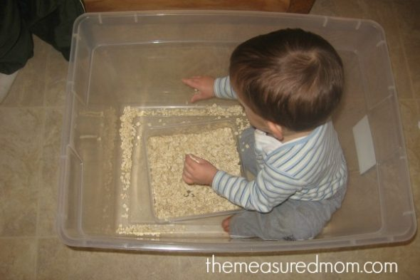 child moving oats