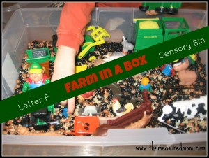 Get out your farm toys for a Letter F Sensory Tub!