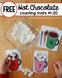Hot Chocolate Math – free printable counting mats