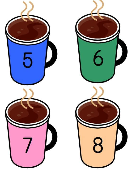 hot chocolate numbered cards in color
