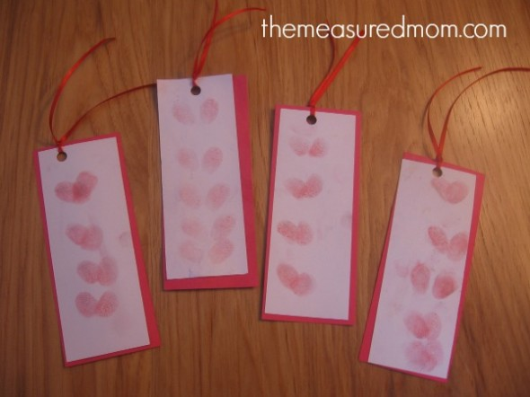 letter H heart thumbprint bookmarks
