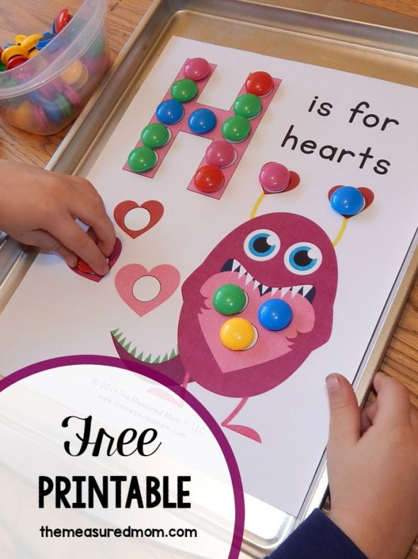 Get this free letter H printable: H is for Hearts!