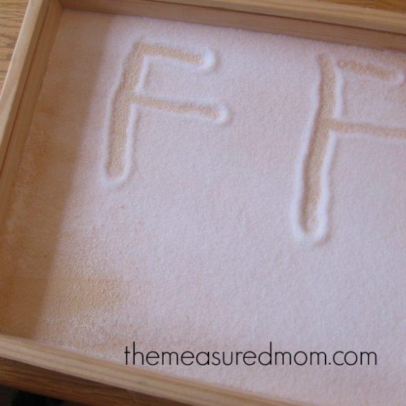 letter F made of salt