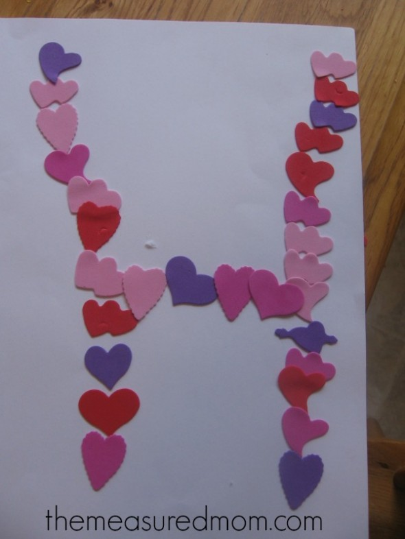 letter H made with heart stickers