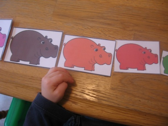children with ordered hippo cards