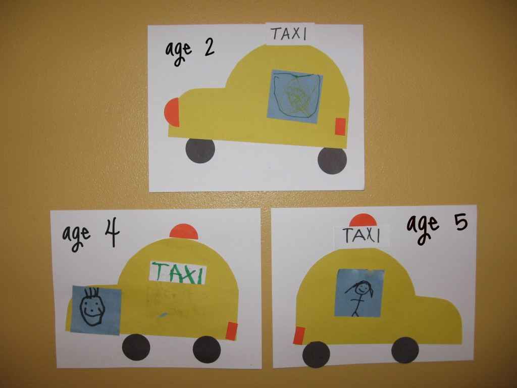 letter T cut and paste taxis