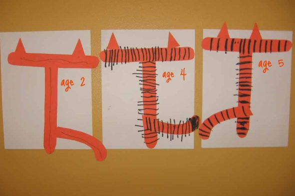 letter T cut and paste tiger T's