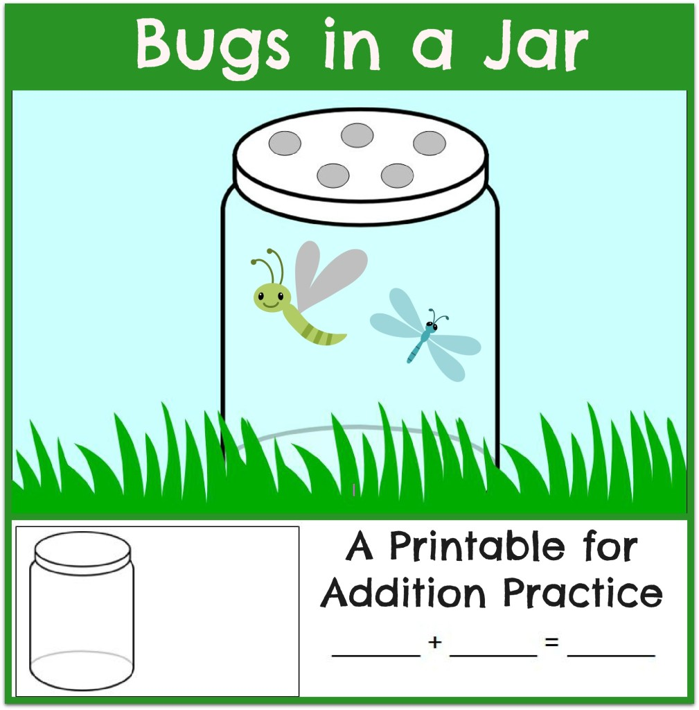 bugs in a jar - math mat and worksheet header - themeasuredmom
