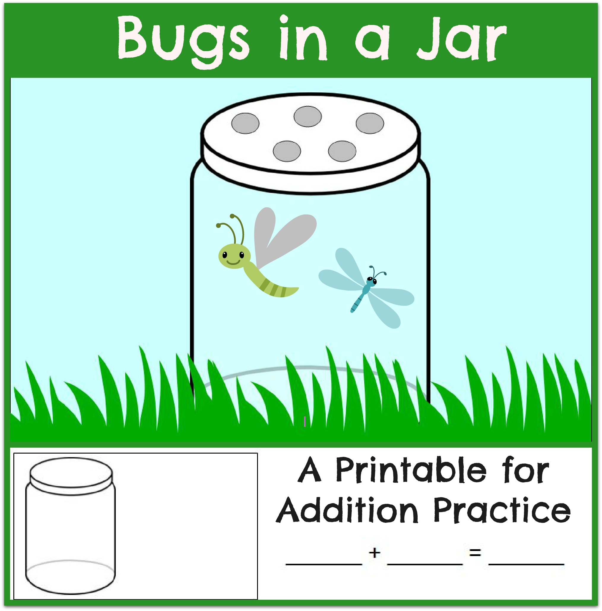 worksheet Bug Worksheets For Kindergarten fun addition practice bugs in a jar the measured mom math mat and worksheet header themeasuredmom