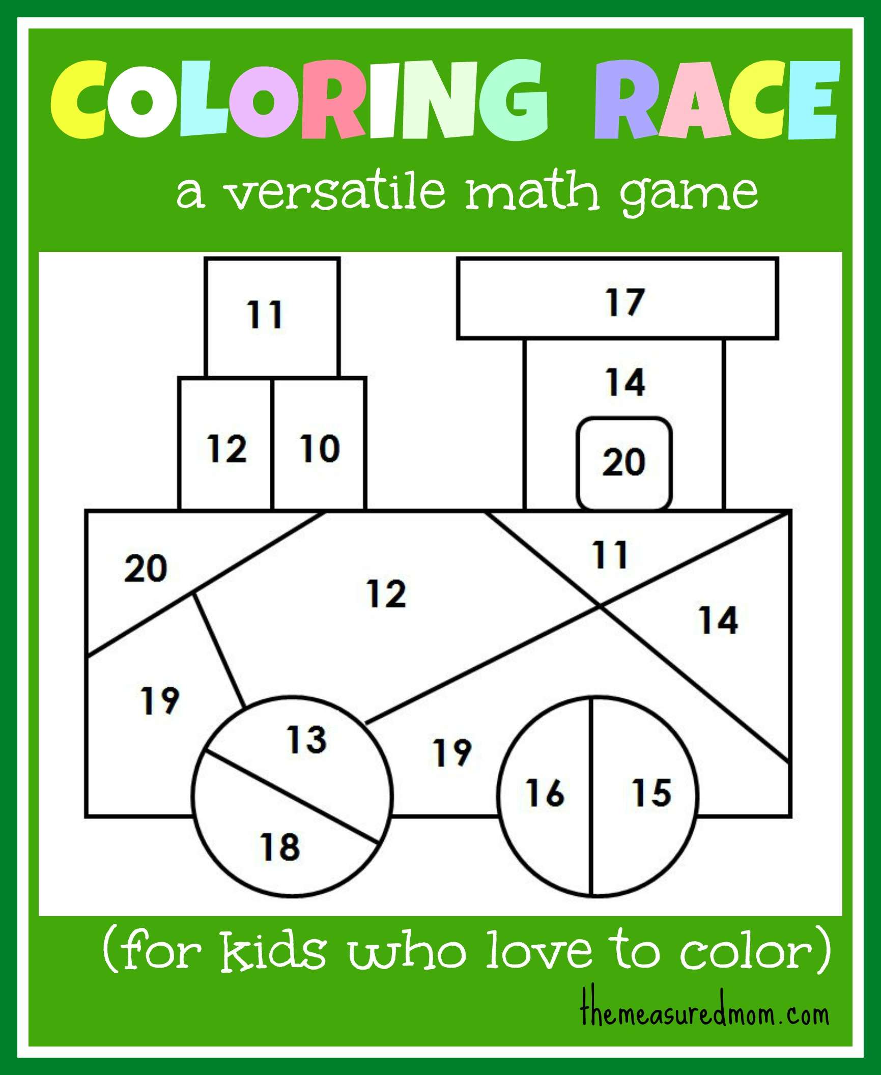 math worksheet : math game for kids coloring race bines math and coloring  the  : Math Games For Kindergarten Free Online