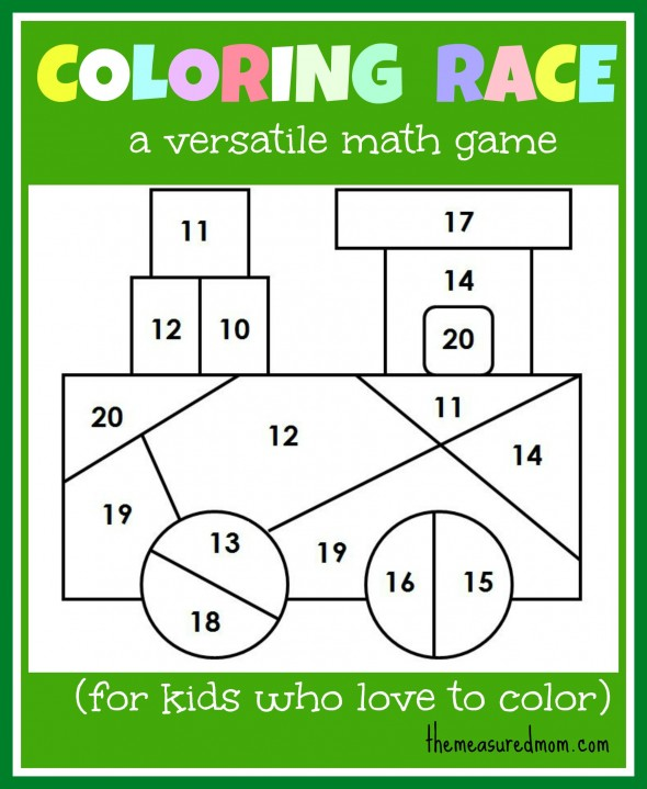 Coloring Pages Math Game For Kids Coloring Race Combines Math