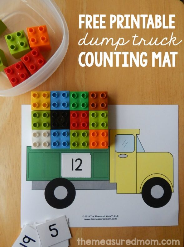 This dump truck math is a great counting activity! I love free printables.