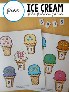 Free file folder game for preschoolers: Ice Cream Count & Match #1-10