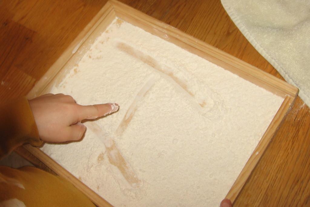 letter I written in flour