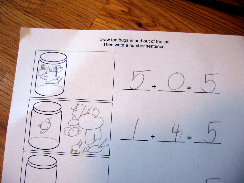toy bugs in a jar math worksheet 2 rows completed