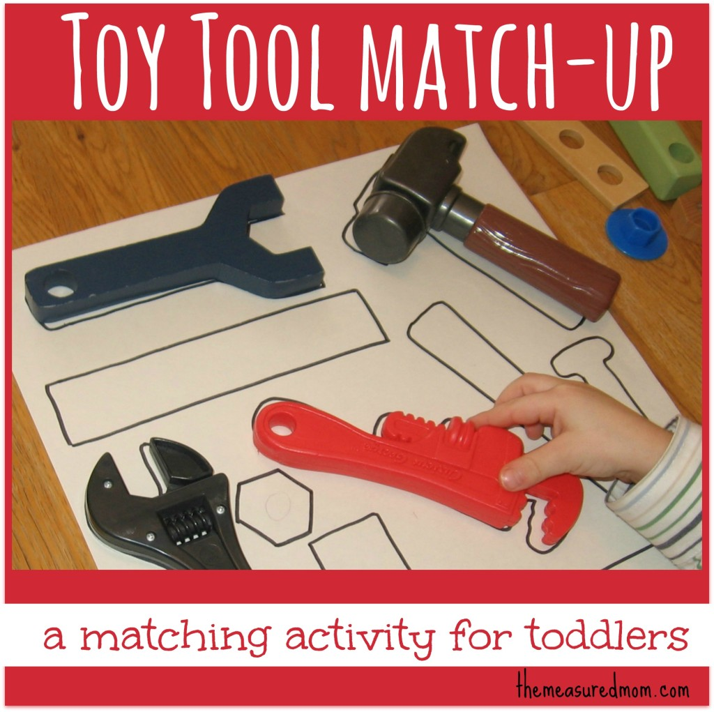 Do you have way too many toy tools sitting around? Turn them into a matching activity for toddlers.