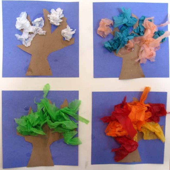 letter T tissue paper trees for all seasons