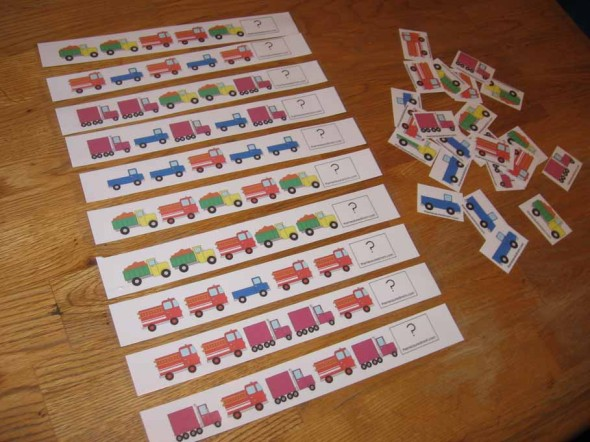 color truck pattern strips and cards