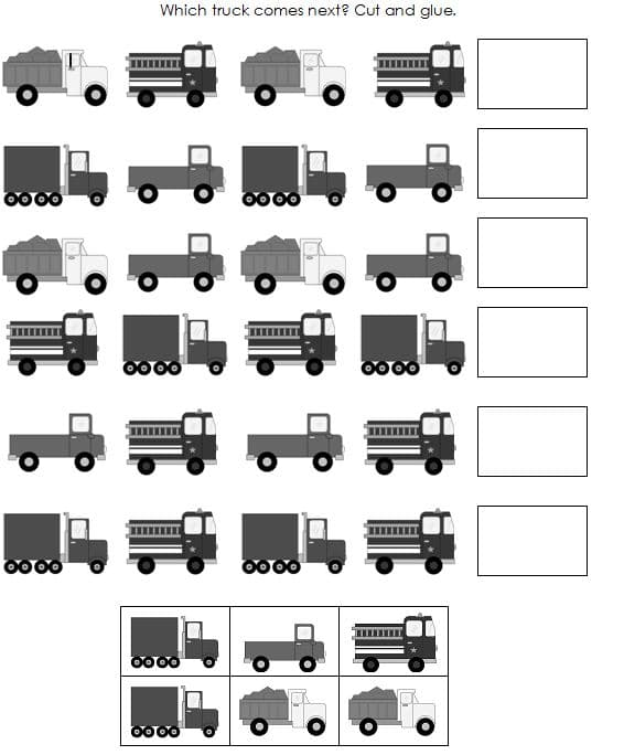 black and white truck pattern strips and cards
