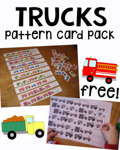 Printable pattern cards for preschool and kindergarten: Trucks!