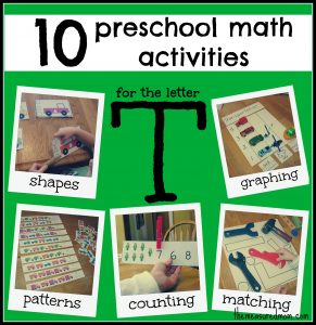 10 Preschool Math Activities (the Letter T)