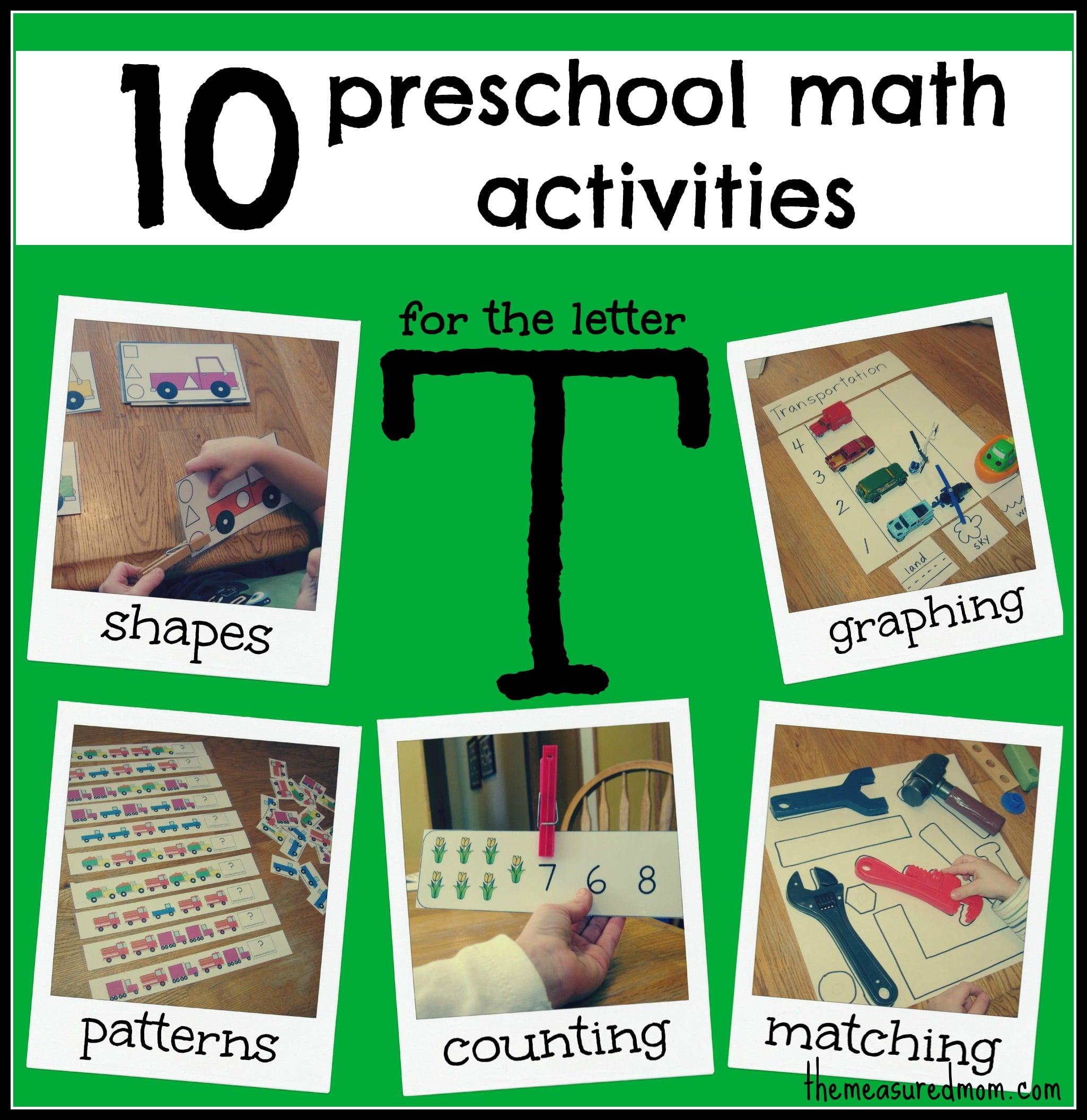 10 Preschool Math Activities (the Letter T)