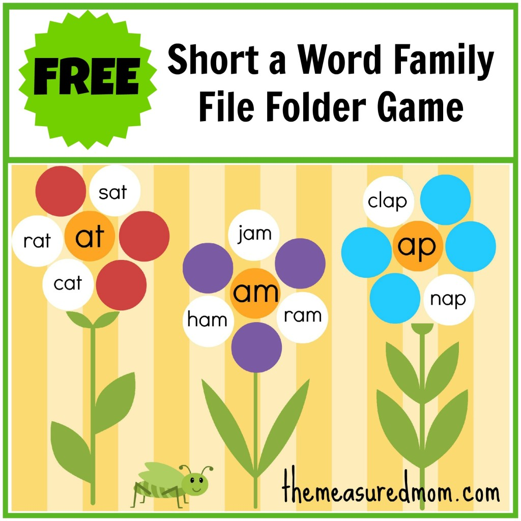 My Four is able to sound out simple words. Here's a free word family file folder game for short a.