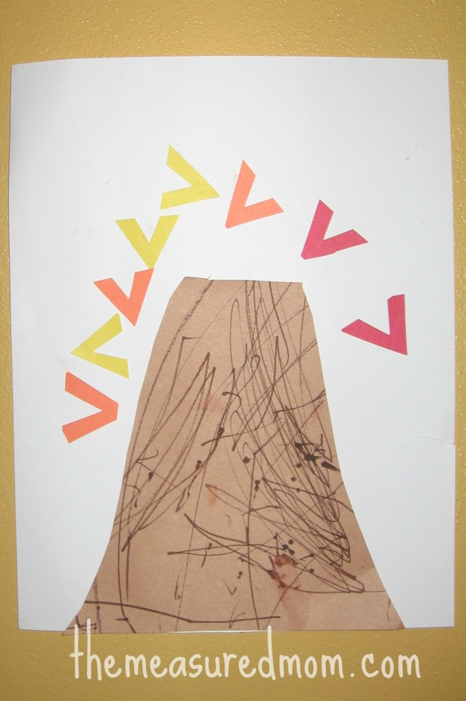 letter V cut and paste volcano