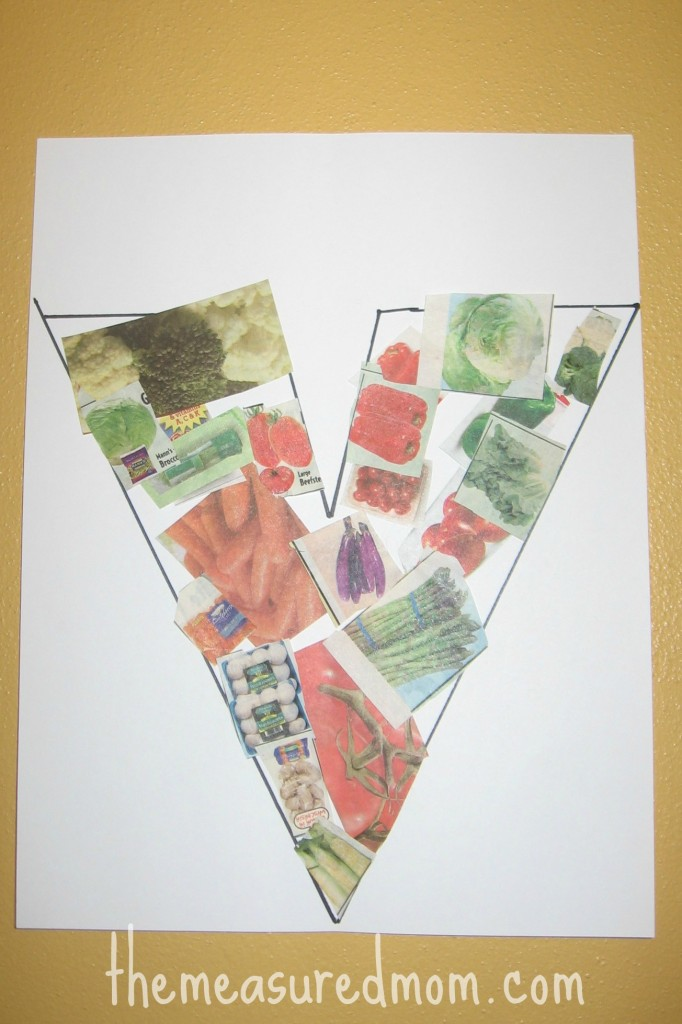 letter V cut and paste vegetable collage