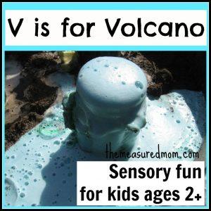 Make your own volcano: Sensory fun for the Letter V