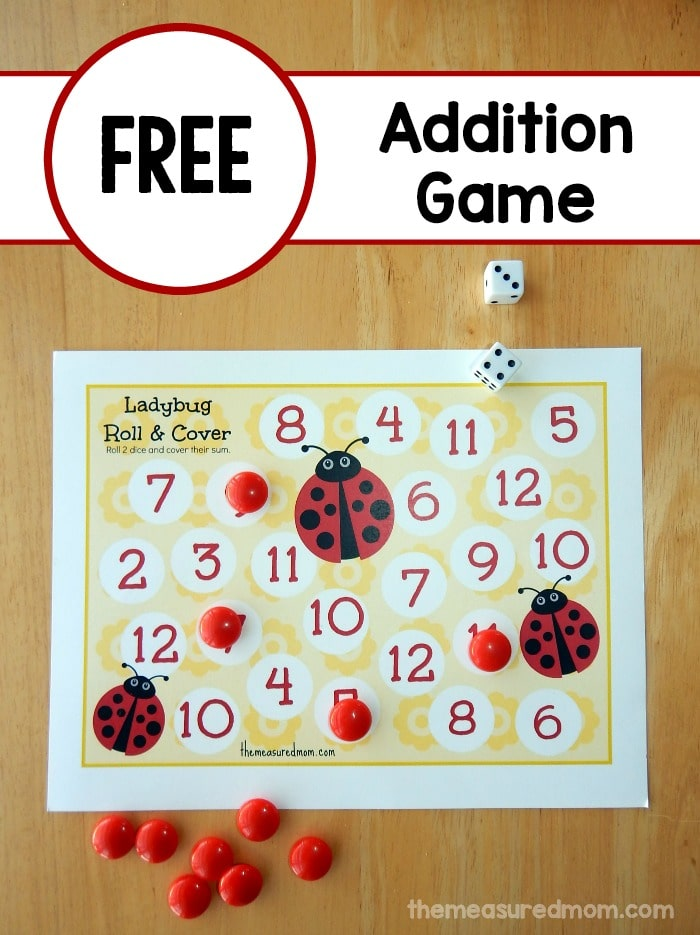 Printable Addition Game: Ladybug Roll & Cover - The Measured Mom