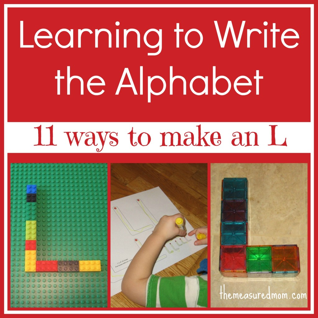 learning to #write the alphabet (letter L) - the measured mom