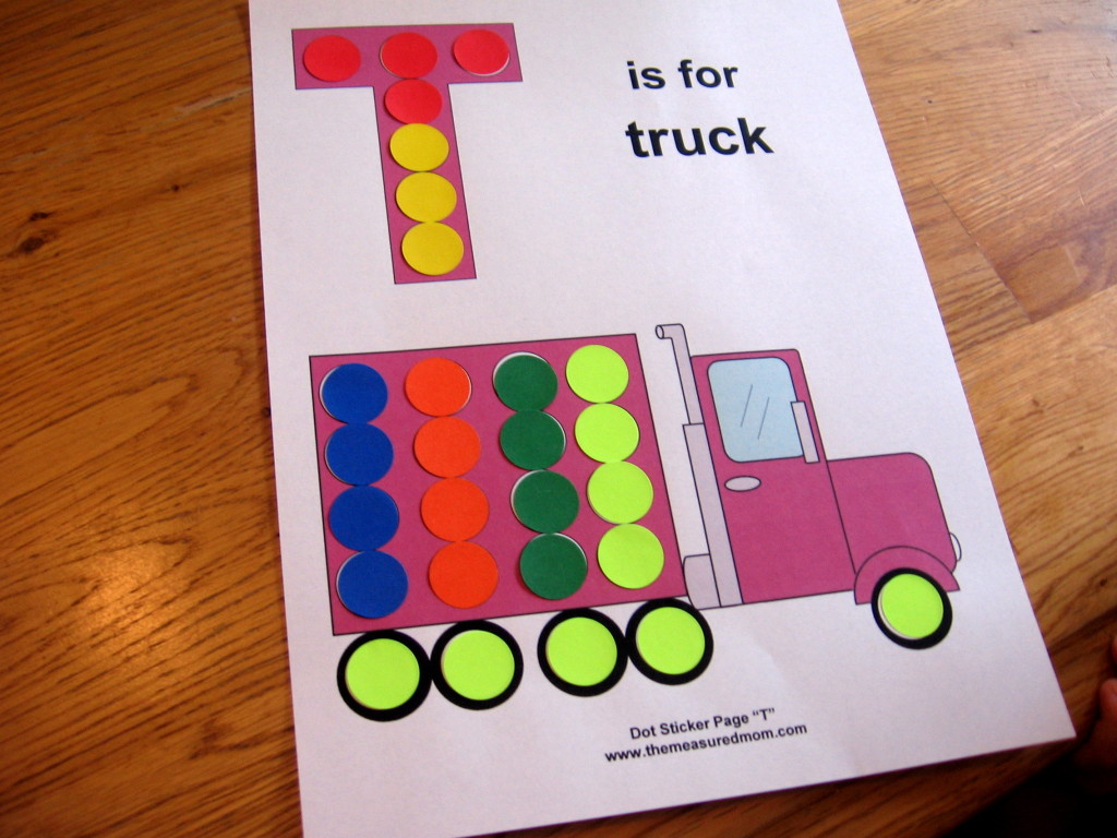 letter T T is for truck worksheet with dot stickers