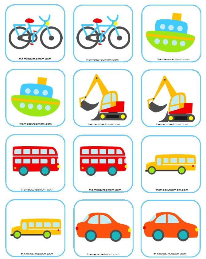 matching transportation memory game cards
