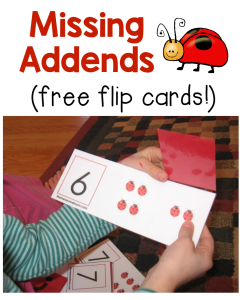 Missing Addend Activity: Ladybug flip cards!