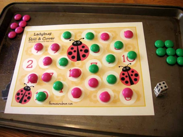 finished ladybug roll and cover addition game