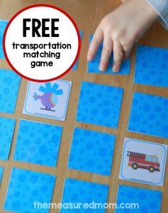 Free Matching Memory Game for Kids: Transportation!