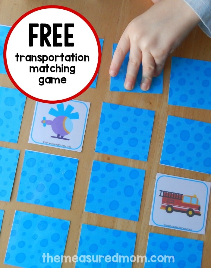 We love this transportation matching game for preschool!