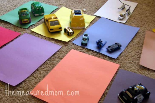 match cars to construction paper