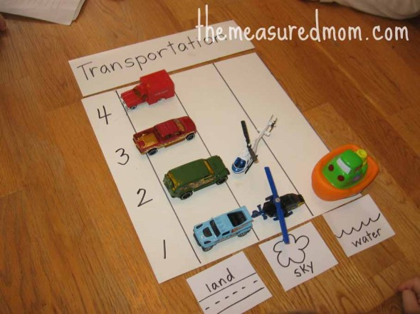 child making a transportation graph